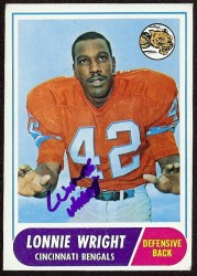 autographed 1968 topps lonnie wright