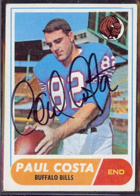 autographed 1968 topps paul costa