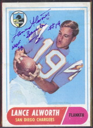 autographed 1968 topps lance alworth