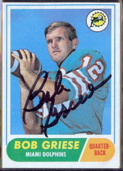 autographed 1968 topps bob griese