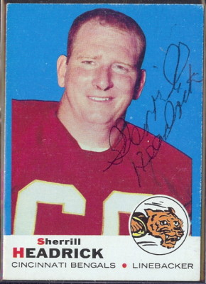 autographed 1969 topps sherrill headrick