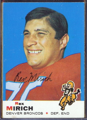 autographed 1969 topps rex mirich
