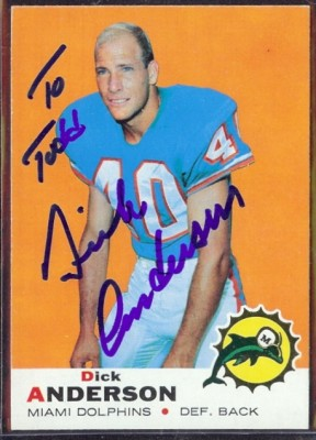 autographed 1969 topps dick anderson