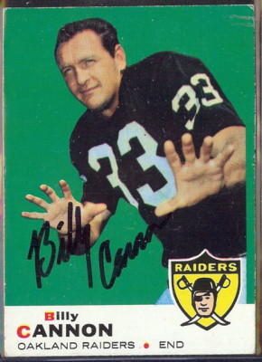 autographed 1969 topps billy cannon