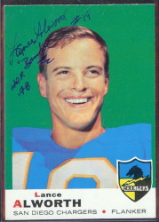 autographed 1969 topps lance alworth