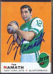 autographed 1969 topps joe namath