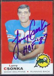 autographed 1969 topps larry csonka