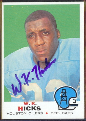 autographed 1969 topps wk hicks