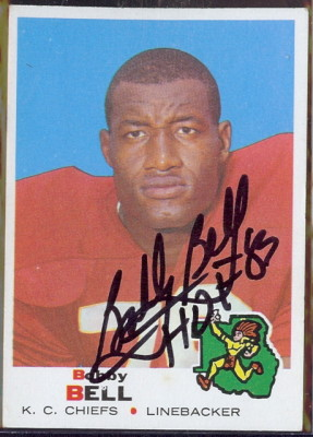 autographed 1969 topps bobby bell