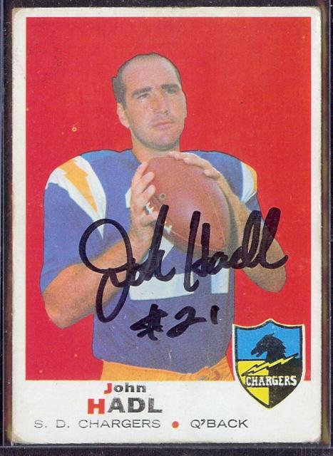 autographed 1969 topps john hadl