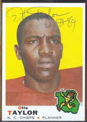 autographed 1969 topps otis taylor