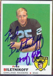autographed 1969 topps fred biletnikoff