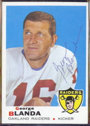 autographed 1969 topps george blanda