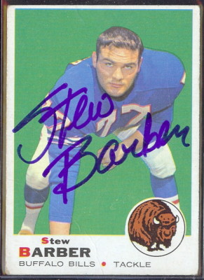 autographed 1969 topps stew barber