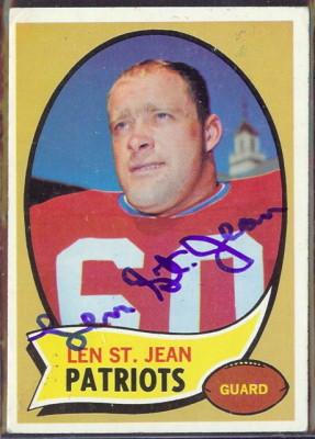 autographed 1970 topps len st. jean