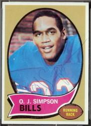 autographed 1970 topps oj simpson