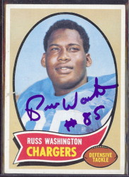 autographed 1970 topps russ washington