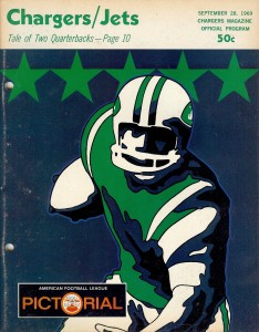 1969 chargers versus jets game program
