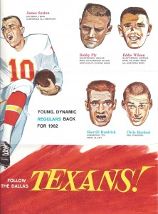 1962 dallas texans ticket brochure
