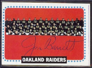 jan barrett autographed 1964 topps raiders team card