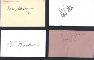 autographed 1960 coaches index cards