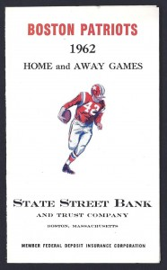 1962 boston patriots pocket schedule