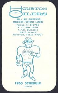 1965 Houston Oilers pocket schedule