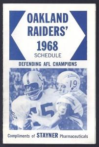 1968 Raiders Pocket Schedule