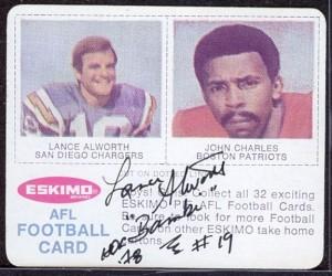 1969 Eskimo Pie Lance Alworth/John Charles card