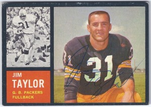 autographed 1962 topps - 066 - jim taylor