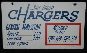 1964-66 san diego chargers ticket sign