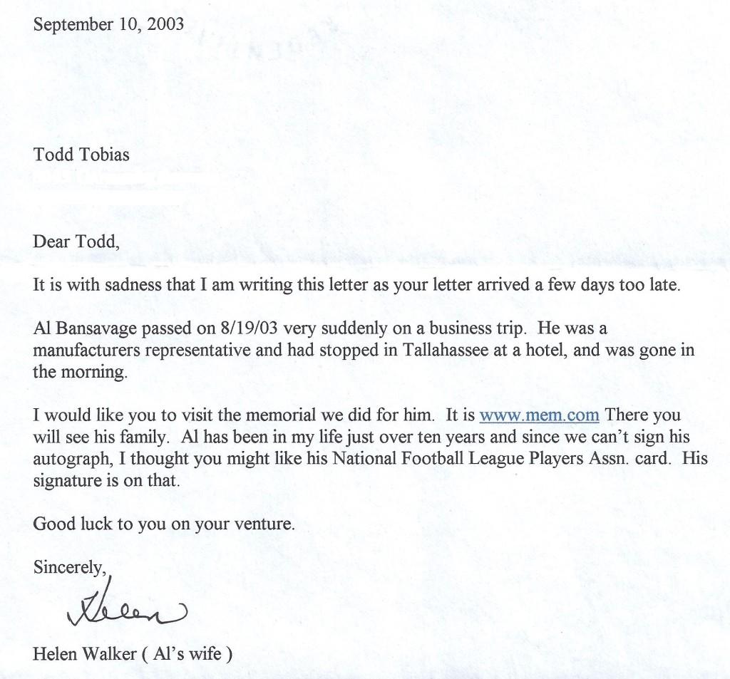 al bansavage letter