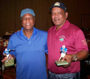 Former Buffalo Bills defensive backs, Butch Byrd and Booker Edgerson, show their custom figures.