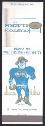 1960 Oilers Matchbook - Back
