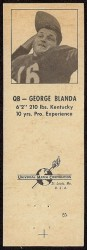1960 Oilers Matchbook - George Blanda