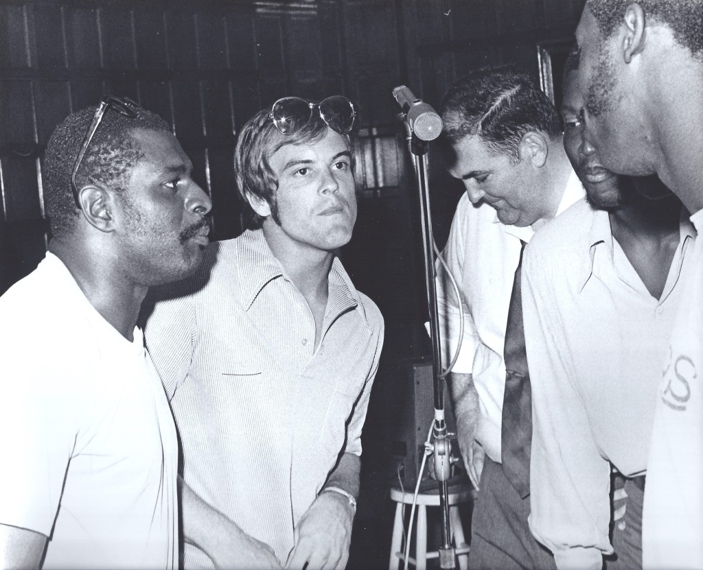Gene Foster, Lance Alworth, Jim Tolbert and Willie Frazier singing for the Holiday Halftime project.