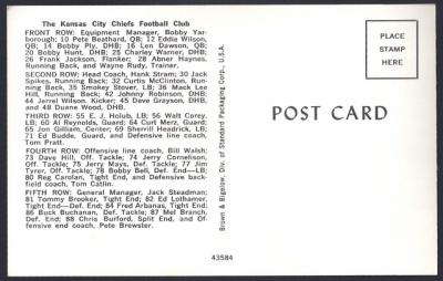 1964 kansas city chiefs postcard