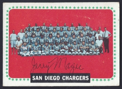 1964 topps chargers team - jerry magee