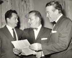 Barron Hilton (left), shown with Sid Gillman and Frank Leahy.
