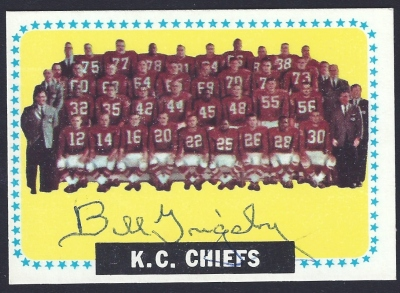 1964 topps chiefs team - bill grigsby