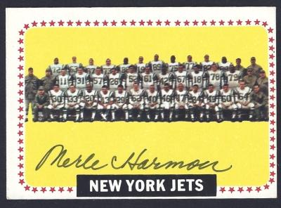 1964 topps jets team - merle harmon