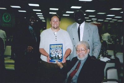 Dick Westmoreland, Todd Tobias, Earl Faison and Ernie Ladd (seated).  February 2005