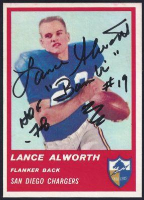 1963 Fleer Lance Alworth - No Red Stripe