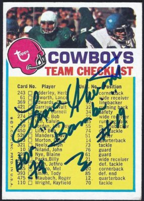 1973 Topps Cowboys Checklist